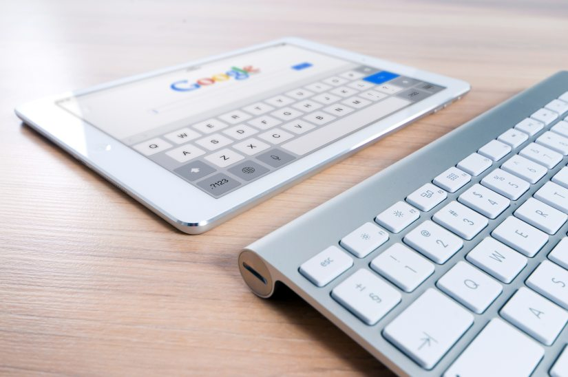 Tablet with Google search page showing